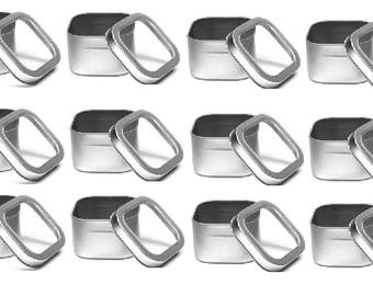 8 oz  Clear Top Square Tins- Set of 12