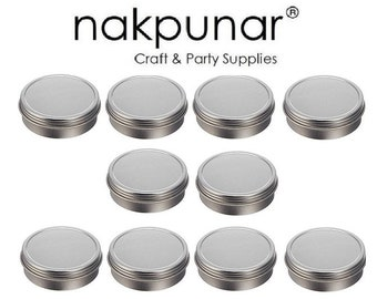 2 oz Solid Top Tin Containers- Round, Silver : Set of 10