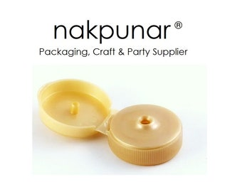 25 pcs 38-400 Gold Flip Top Caps with Orifice Dispensing Snap Closures for Syrup, Honey, Sauce bottles - Limited Item