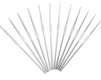 12 pcs Aluminum Crochet Hooks from 0.60mm to 1.90mm