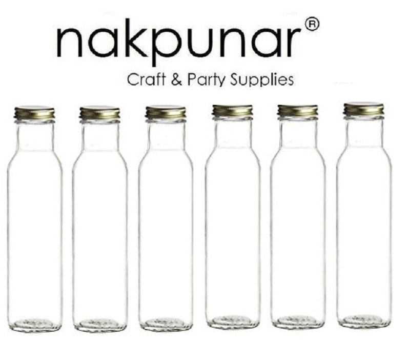 f82f3bdcaf2d Nakpunar 6 pcs 8 oz 250 ml Wide Mouth Empty Glass Bottles with Black  Plastic or Gold Metal Cap ( Square Bottom)