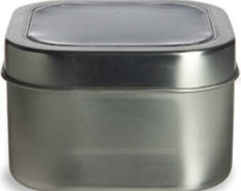8 oz  Clear Top Square Tins