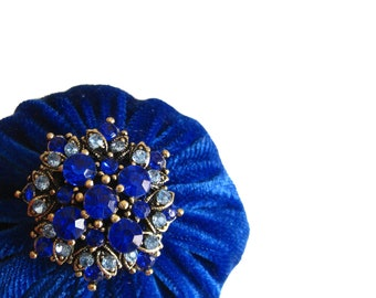 """2"""" Royal Blue Velvet Pincushion Filled With Abrasive Emery Mineral To Keep Your Needles Clean - Store Pins For Quilting, Sewing, Needlepoint"""