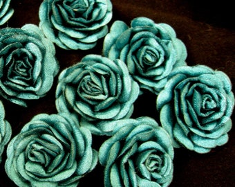 "Lot of 5, 1"" Emeral Green Satin Padded Rose Appliques"