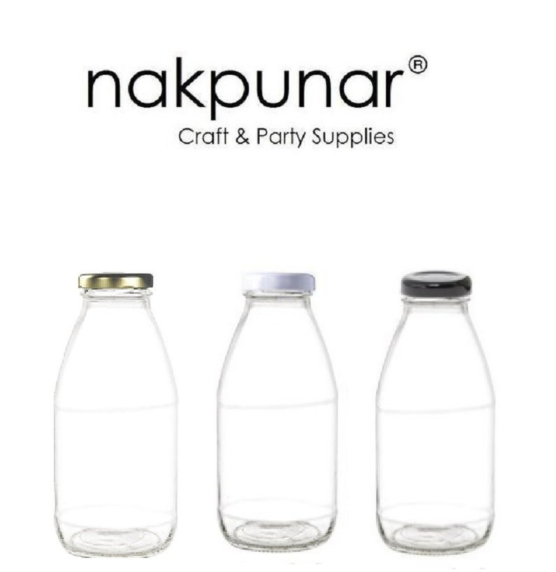 89a4ba497732 Nakpunar 1 pc 10 oz Glass Bottle with Color Chioce of Lids : Black, Gold or  White