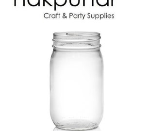 16 oz Mason Glass Jars with Color Choice of Lid
