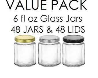 48 pcs 6 oz Beveled Glass Jars with Plastisol Lined Lid in your color choice: gold, silver, black- Storage and Organization