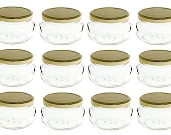 12 pcs 8 oz Glass Tureen Jars with Lids (250 ml)