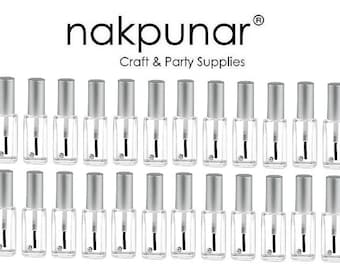 24 pcs Empty Nail Polish Bottle with Brush, Mixing ball and  Silver Cap -  13 ml Oblong shape