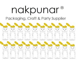 Nakpunar 18 pcs 8 fl oz PET Bear Honey Bottle Jars with Yellow Flap Caps - Holds 12 oz Honey Weight - Made in USA