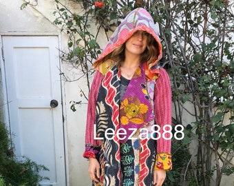 Santa Barbara cotton kantha reversible hoodie