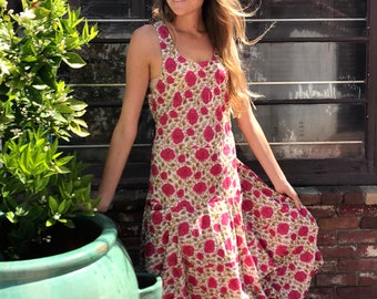 Red rosey picnic dress with pockets