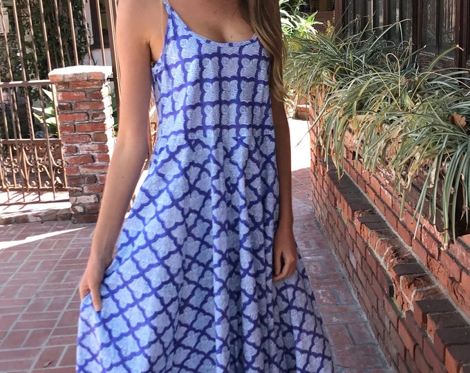 Cotton poplin blockprint spaghetti strap dress