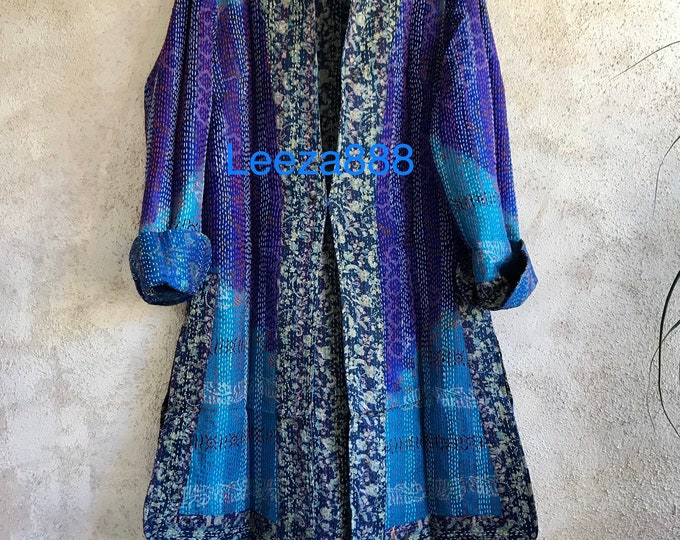 Starry night one button reversible silk kantha jacket