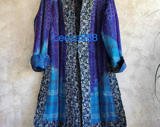 Starry night one button reversible silk kantha jacket