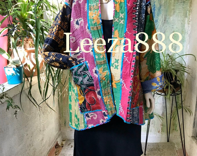 Laurel Canyon coat reversible plus size vintage kantha kimono jacket