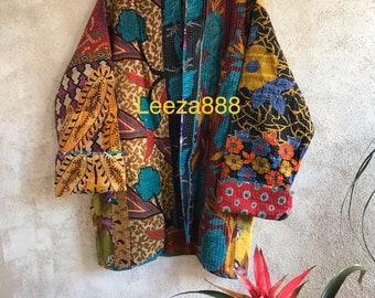 Soho Gardens reversible plus size vintage kantha kimono jacket