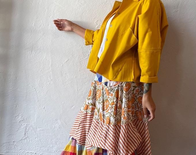 Cotton prairie skirt in mixed prints