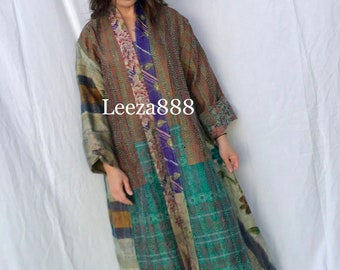 Romantic vintage floral and plaid in gorgeous subdued colors plus size reversible silk kantha duster/kimono