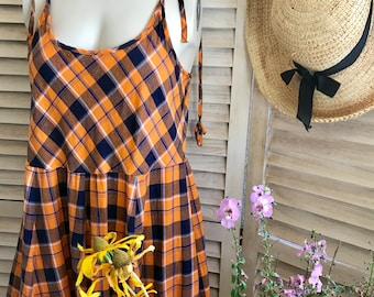 Orange and navy washed cotton spaghetti strap sundress