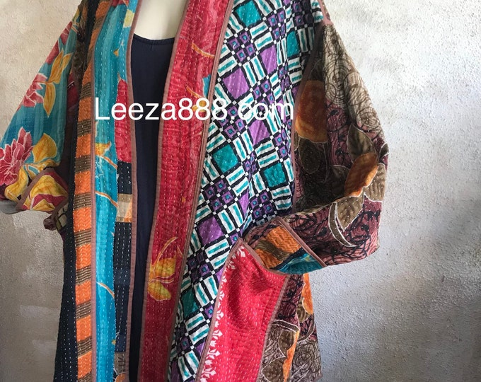 Cotton kantha reversible jacket in plus size