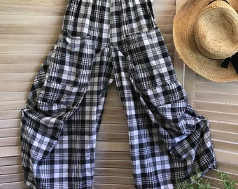 Small size plaid lagenlook pant