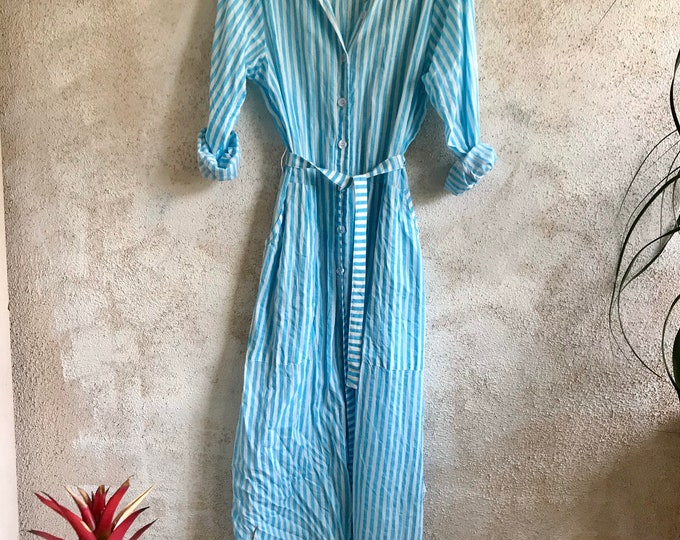Turquoise block print stripe cotton voile button down shirtdress/duster