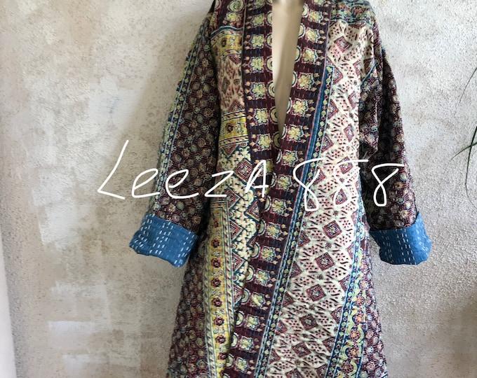 Rainy day Blues Indigo quilt One of a kind reversible kantha kimono