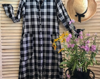 Black and white plaid shirtdress/duster