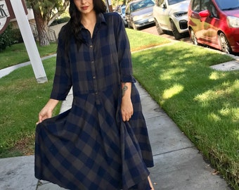 Cotton flannel plaid navy and olive housedress