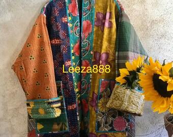 Daydreamer in the Garden  reversible plus size vintage kantha kimono jacket
