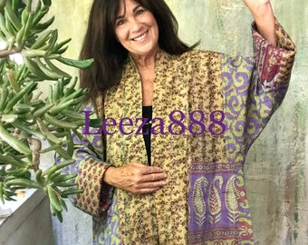Artsy lady kantha plus size reversible kimono jacket