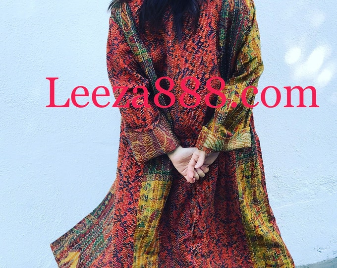 Cayenne and curry plus size reversible silk kantha duster/kimono
