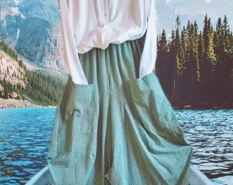 Green micro gingham lagenlook skirt