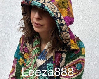Upcycled reversible hoodie kantha quilt coat