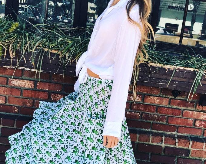 One size green monkey skirt