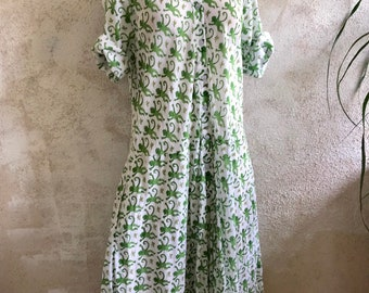 Cotton voile green monkey block print housedress