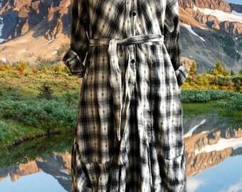 Tan plaid flannel funky dress