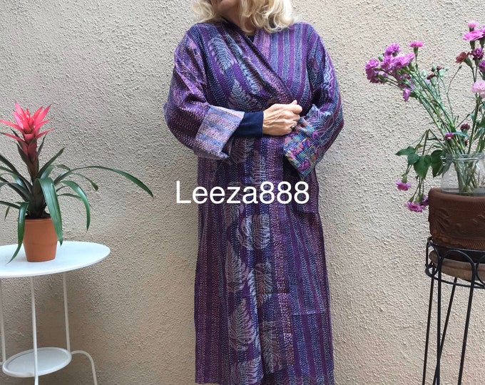 Purple Sage plus size reversible silk kantha duster/kimono