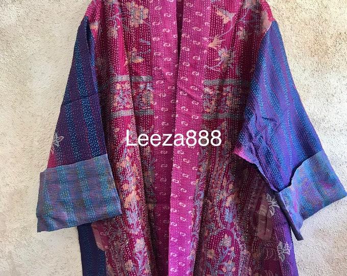 Stunning cosmic colors Plus size silk kantha jacket/kimono reversible with pockets