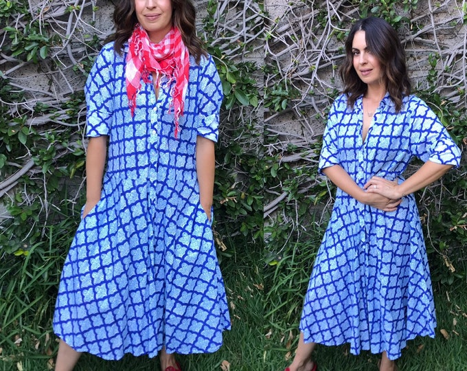 Cotton voile stunning blue hand  wood block print housedress