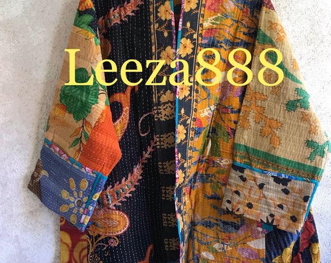 The magic of Art reversible plus size vintage kantha kimono jacket