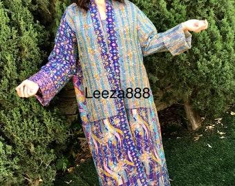 Santa Fe purple combo plus size reversible silk kantha duster/kimono