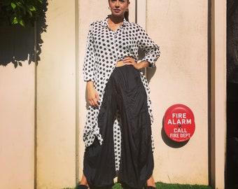 Black and white block printed polkadot button down shirtdress/duster