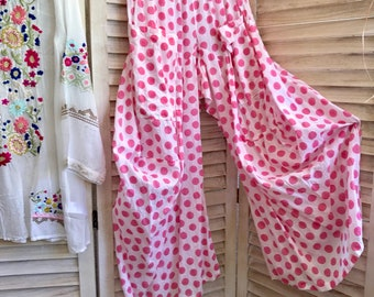 size small pink polka dot block print cotton voile lagenlook pant