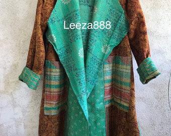 Island resort silk kantha reversible hoodie