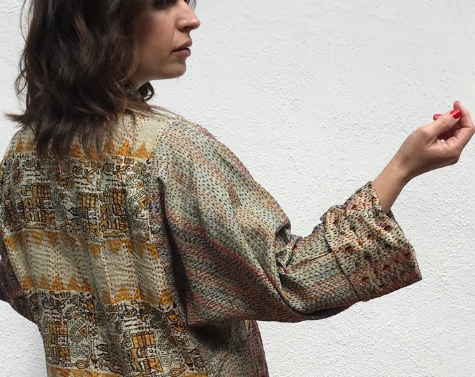 subtle and sophisticated reversible silk kantha coat
