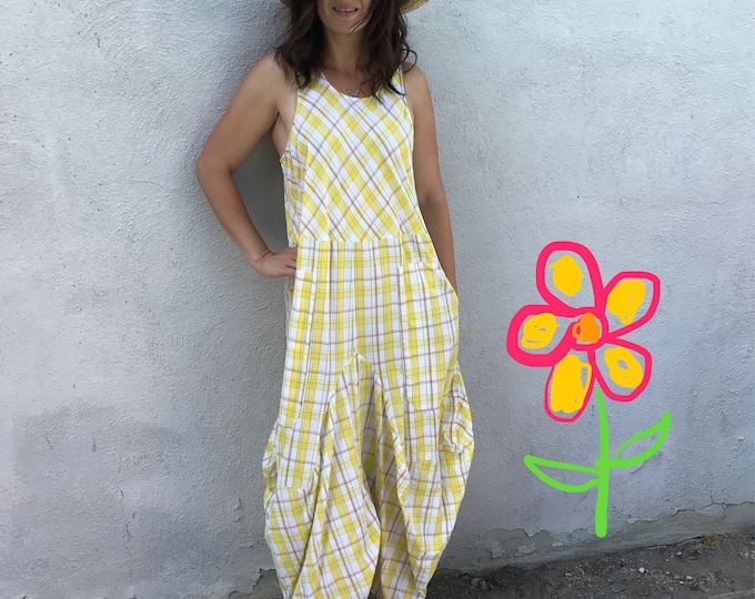 Yellow plaid cotton summer dress