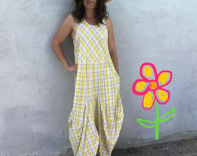 Yellow plaid cotton summer dress
