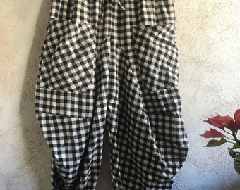 Funky Bicycle pant in Flannel black and white check